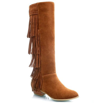 Knee-High Low Heel Boots With Fringe