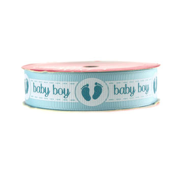 Baby Girl Baby Boy w/ Footprint Grosgrain Ribbon, 7/8-inch, 3-yard, Light Blue