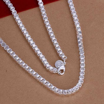 silver plated Chain 4mm/2 inch Box Chain Necklaces Pendants Men jewelry 16 MP