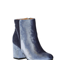 Velour Ankle Booties Ice Blue