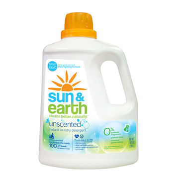 Sun and Earth 2X Liquid Laundry Detergent - Free and Clear - Case of 4 - 100 oz