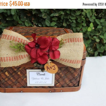 ON SALE Rustic Wedding Decor Trunk / Wedding Card Box / Rustic Wedding Trunk Cardholder / Rustic Trunk Chest