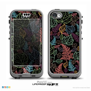 The Colorful Vector Leaves on Black Skin for the iPhone 5c nüüd LifeProof Case