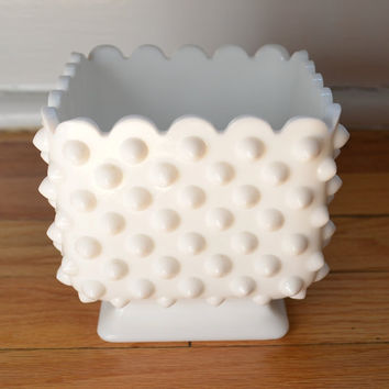 Vintage White Hobnail Square Footed Vase by PickledFurniture