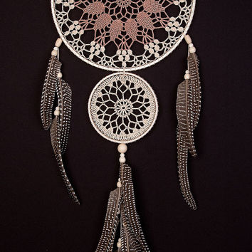 Large Beige Brown Dream Catcher Handmade Crochet Doily Dreamcatcher feathers boho dreamcatchers wall hanging wall decor