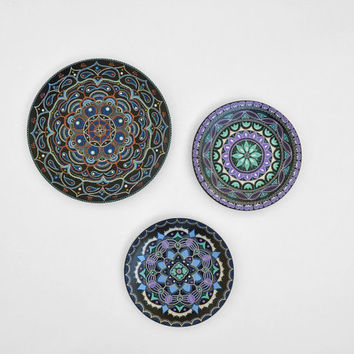 Set of wall plates - Hand painted plates - Mandala - Plate sets - Decorative plates - Wall hangings - Room decor - Mandala art
