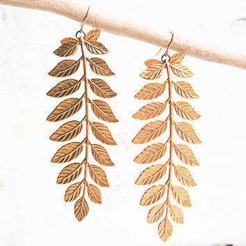 Large Gold LEAF BRANCH Earrings