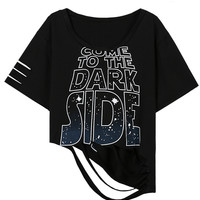 Black Come to the Dark Side Distressed Crop Top