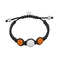 Oregon State Beavers Crystal Ball & Sterling Silver Team Logo Slipknot Bracelet (Orange)