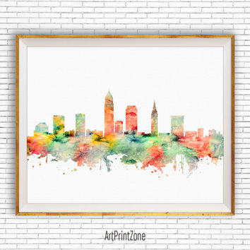 Cleveland Art Print, Cleveland Skyline, Office Art, Cleveland Ohio, Office Prints, Watercolor Skyline, Watercolor City Print, ArtPrintZone