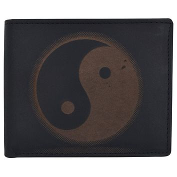 Bifold Genuine Leather Mens RFID Credit Card ID Wallet W/ Ying Yang Logo