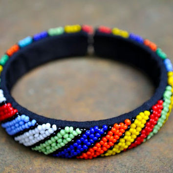 Striped cuff bracelet,beaded cuff bangle,African bracelet,tribal bangle,African beaded jewellery,beaded bracelet,colourful bangle