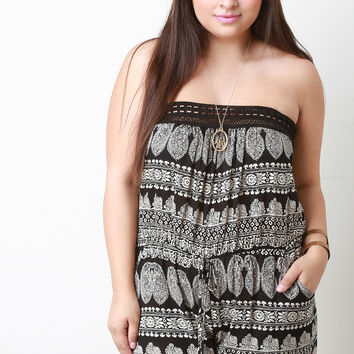 Paisley Print Crochet Trim Strapless Pocketed Romper