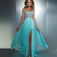 Mac Duggal Prom 2013- Aqua Chiffon GownWith Silver Embellished Top - Unique Vintage - Cocktail, Pinup, Holiday & Prom Dresses.