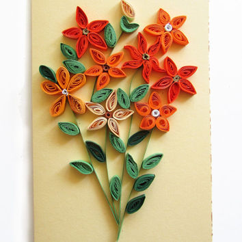 Quilling Card with Quilled Orange Posies