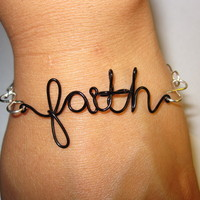 Faith Bracelet Infinity Silver Plated and Black Copper Wire Inspirational - Mixed Materials