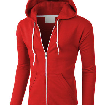 LE3NO PREMIUM Mens Lightweight Soft Fleece Zip Up Sweatshirt Hoodie