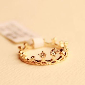 Fashion Cute Rhinestone Crown Tail Ring