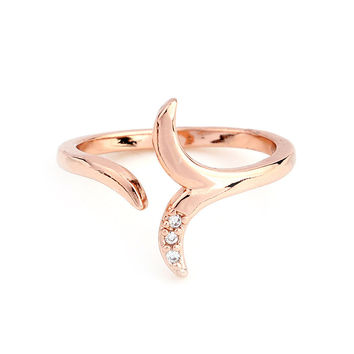 Rose Gold Plated Simple Crystal Mermaid Ring