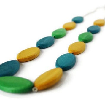 Long Wood Necklace in Teal, Lime Green and Mustard Yellow Wood beads.
