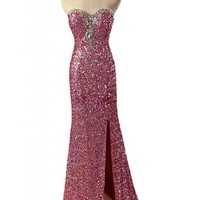 Angel Bride Paillette Prom Evening Dresses Celebrity Long Dresses with Side Split