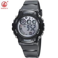 2016 OHSEN Women Sports Watch Plastic Strap LED Digital Wristwatches Jelly Color Water Proof Clocks Watches for Ladies AS10