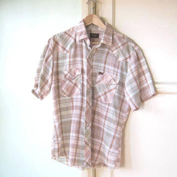 Salmon/Blue/Brown Plaid Western Shirt; Men's LG Vintage Wrangler w/ Short Sleeves & Pearl Snaps; Retro Hipster/Rap/Rockabilly/Working Man