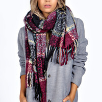Paige Boucle Check Oversized Tartan Scarf