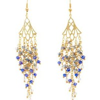 Blue Beaded Chain Chandelier Earrings by Charlotte Russe
