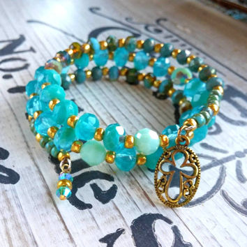 Czech Glass Wrap Bracelet Bohemian Jewelry Turquoise Mint Gold Cross Charm Bracelet
