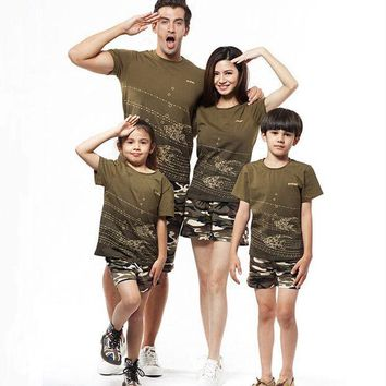 CREYHY3 Summer Family Shirt Sets Camouflage 2016  Fashion Short-Sleeve Army Green T-shirt New Family Matching Shirts Plus Size