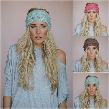Solid Wide Knitting Woolen Headband Winter Warm Ear Crochet Turban Hair Accessories For Women Girl Hair Band Headwraps