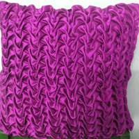 18 x18 Decorative Magenta Satin Throw Pillows Cover with Canadian Smocking Accent Pillows Sofa Pillows Cushion Cover Home Décor