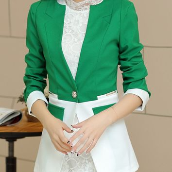 Streetstyle  Casual Stylish Single Button Color Block Blazer