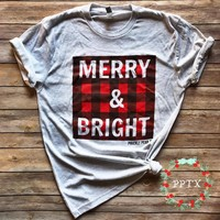 Merry and Bright Plaid Graphic Tee (2XL)