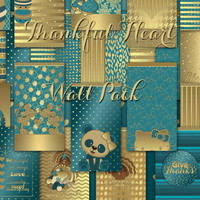 Thankful Heart Digital Wallpaper Pack for Mobile Devices, Instant Download, Teal, Gold, Glitter, November, Thanksgiving