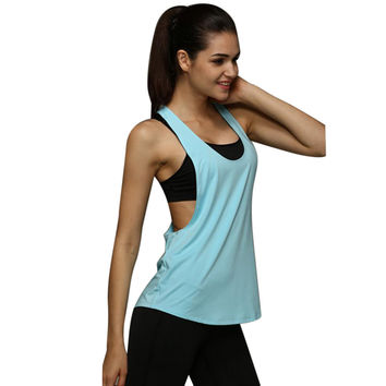 Plus Size S-XXL Summer Sexy Fitness Clothes Women Tank Tops Loose Workout Sleeveless Quick Dry Vest Singlet For Women T-shirt