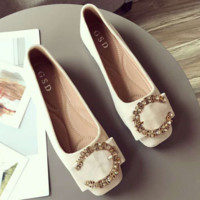 New style comfortable sheep back velvet flat women's single shoe shallow bowknot fastener a foot pedal women's shoe