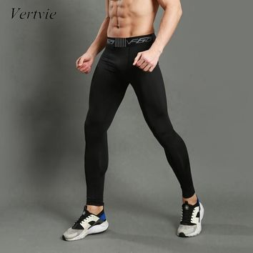 vertvie Running Tights 2017 Men Sports Leggings Sportswear Sweat Jogger Pant Pro Skinny Compression Gym Fitness Athletic Trouser