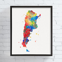 Argentina Map, Country Map, Map Poster, Watercolor Map, Argentina Wall Art, Argentina Poster, Travel Print, Framed Art, Custom Color, Modern