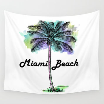 Watercolor Miami Beach Florida Wall Tapestry by ARTPICS