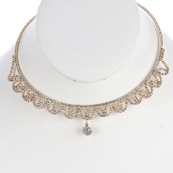 Clear Crystal Charm Rhinestone Coil Wire Choker Necklace