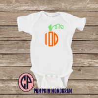 Infant Baby PUMPKIN MONOGRAM Onesuit Bodysuit Halloween Onesuit Fall Onesuit