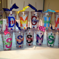 Personalized Tumblers w/Straw BPA Free. Birthday, Teacher, Bacherlorette, Bridal, Cheer, Dance