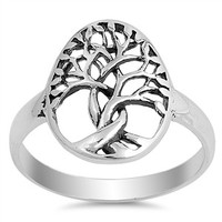 Sterling Silver Classic 3-D Cut Out Tree of Life Ring Sz 5-10