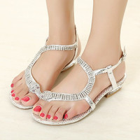 Luxury Full Rhinestone Snake Flat Sandals FDS914