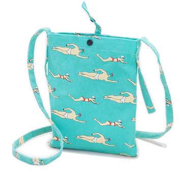 Mini Crossbody Swimmer Tote Bag in Aqua