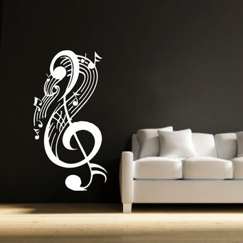 Wall Decal Vinyl Sticker Decals Art Home Decor Mural Note Musical Notes Waves Music Recording Studio Treble Clef Floral Patterns AN432