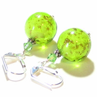 Murano Glass Peridot Green Ball Silver Earrings, Venetian Italian Jewellery