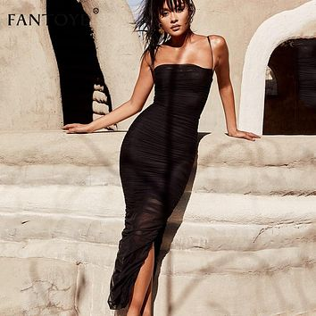 e6a68cdbbc053 Fantoye Ruched Sheer Sexy Party Dress Women 2018 Strapless Slit